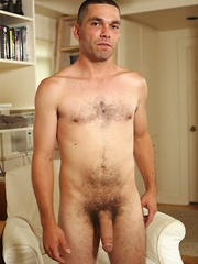 Hairy dad masturbates his love tool